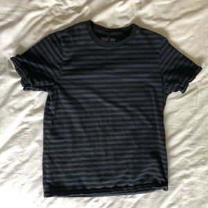 Muji Navy and Blsck Stripped Short Sleeve
